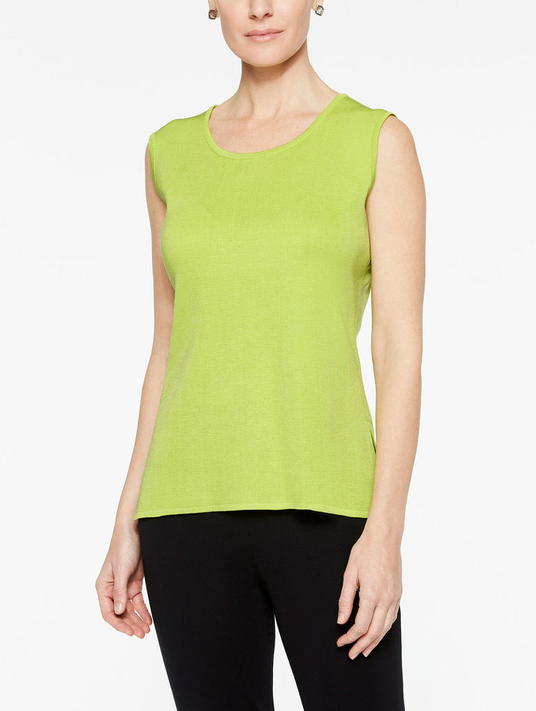 Plus Size Rio Lime Green Classic Knit Scoop Neck Tank Top