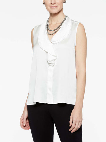 Waterfall Ruffle Crepe de Chine Blouse, White