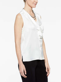 White Crepe de Chine Ruffle Waterfall Blouse Color White