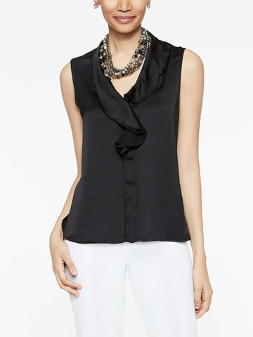 Waterfall Ruffle Crepe de Chine Blouse, Black