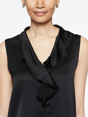 Black Crepe de Chine Ruffle Waterfall Blouse Color Black