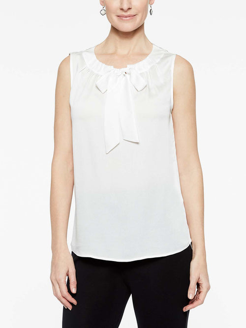 White Crepe de Chine Bold Tie Blouse Color White