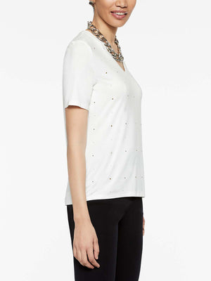 Jersey V-Neck Stud T-Shirt Color White