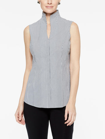 Pinstripe Sleeveless Stretch Cotton Blouse