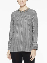 Cross Stripe Blouse, Black/White - Front View