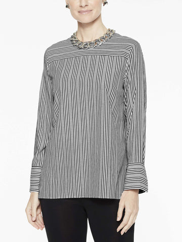 Cross Stripe Woven Blouse, Black/White