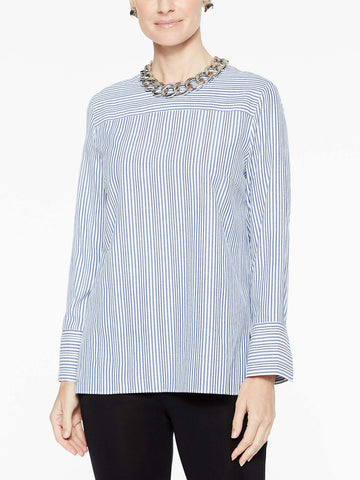 Cross Stripe Woven Blouse, Indigo/White
