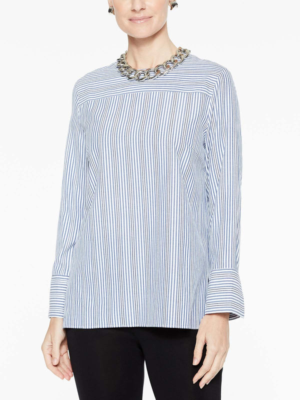 Cross Stripe Blouse Color Indigo/White