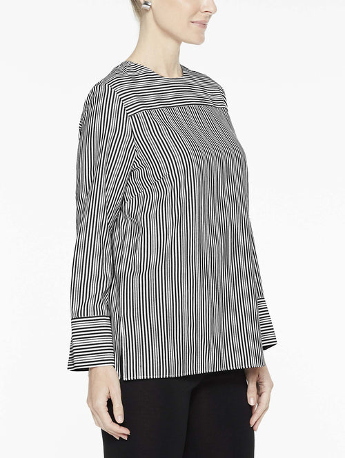 Cross Stripe Blouse, Black/White - Side View