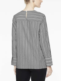 Cross Stripe Blouse, Black/White - Rear View
