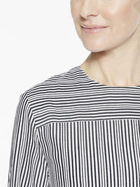 Cross Stripe Blouse, Black/White - Premium Detail View