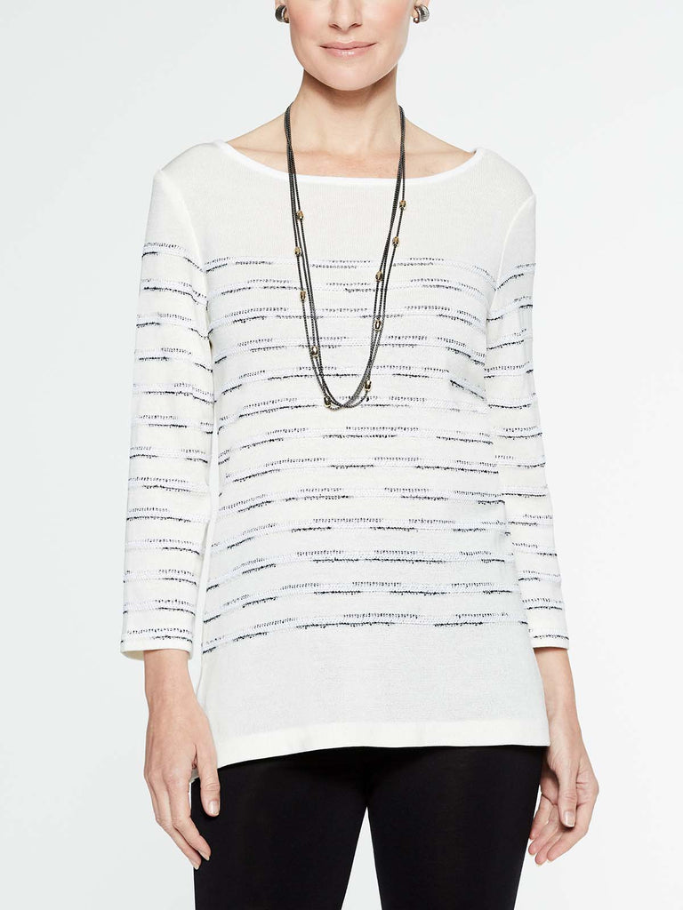 Striated Pattern Tunic Color White/Black