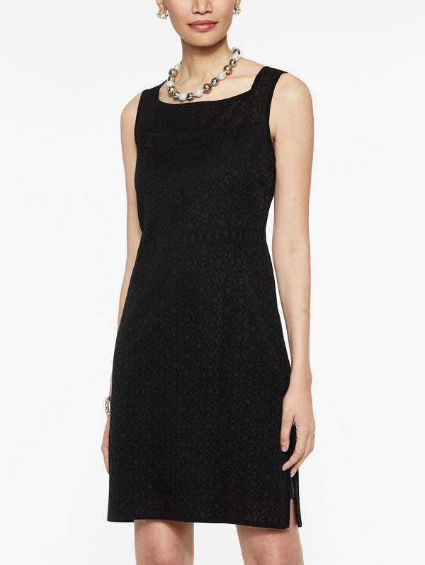 Sheer Trim Knit Dress