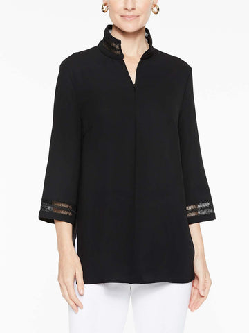 Lattice Trim Crepe de Chine Tunic