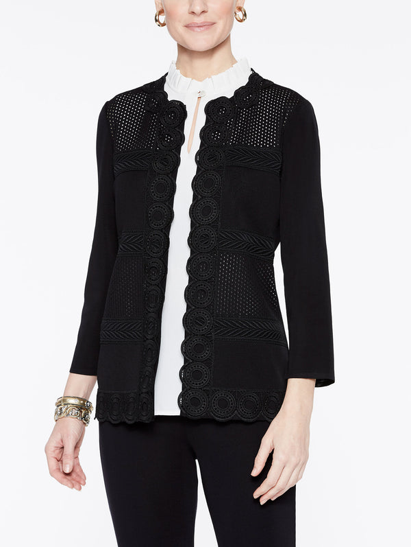 Ribbon Trim Jacket Color Black