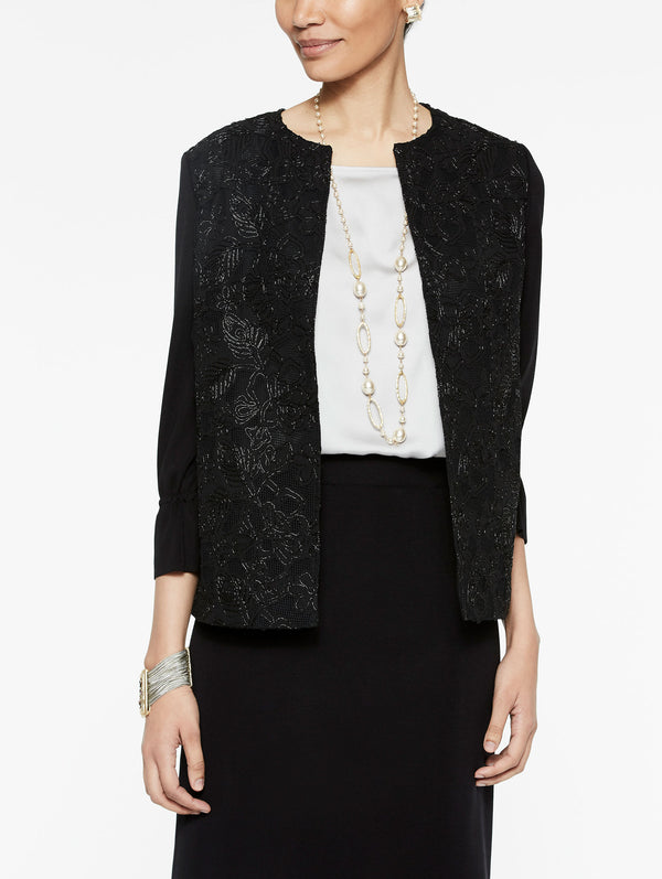 Beaded Rose Jacket Color Black