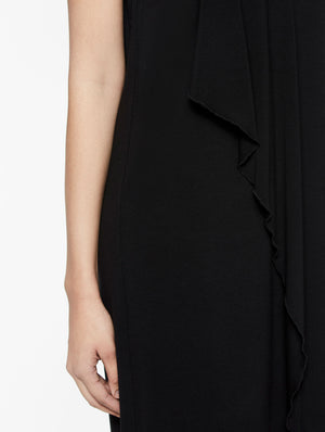 V-Neck Jersey Waterfall Ruffle Dress Color Black