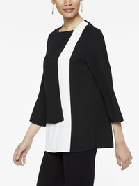 in Colorblock Panel Blouse in Color Black/White