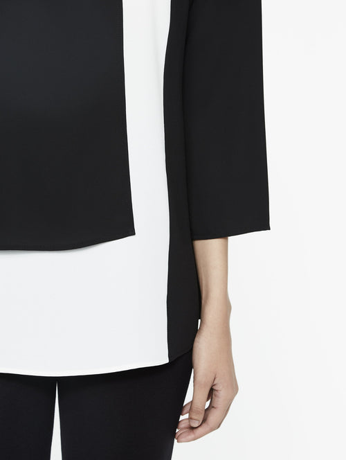 in Colorblock Panel Blouse in Color Black/White Premium Detail