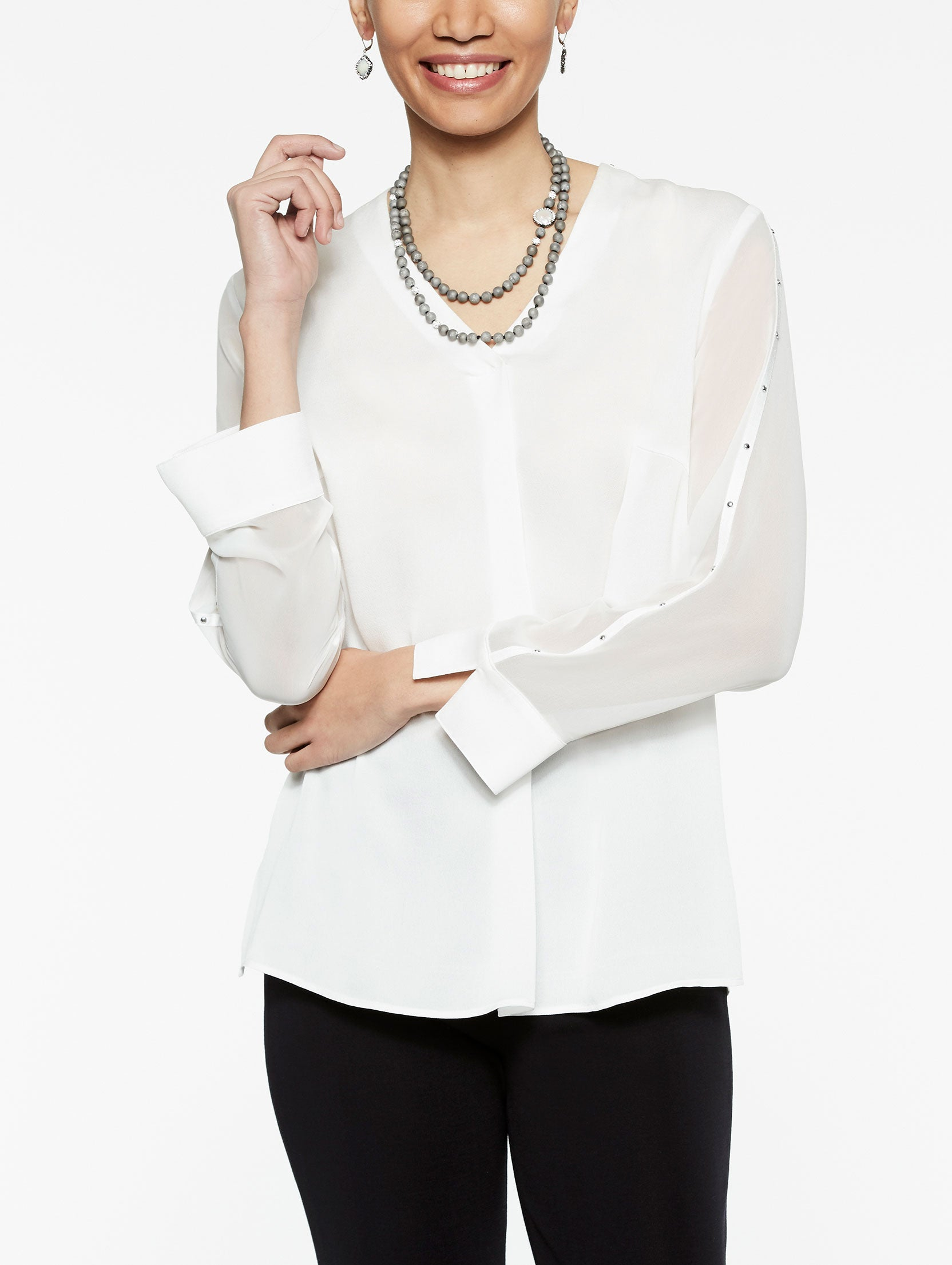Sheer Sleeve Stud Trim Blouse Color White