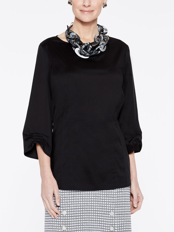 Stretch Cotton Ruched Sleeve Blouse Color Black