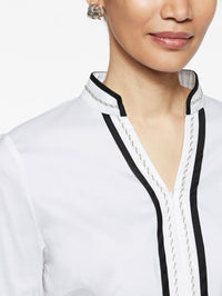 Stretch Cotton Zip Front Tunic Color White/Black Premium Detail