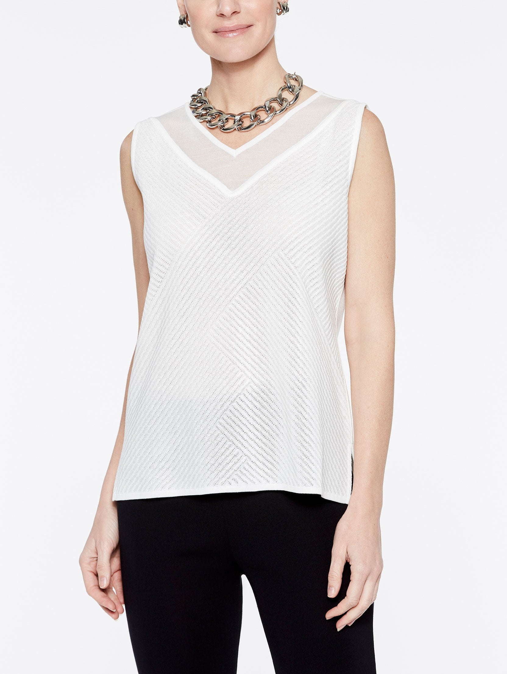 Sheer V-Neck Yoke Tank Color Ivory