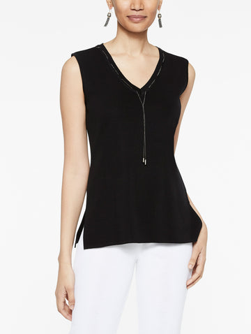 Chain Trim V-Neck Knit Tank Top, Black