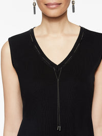 Chain Trim V-Neck Tank Color Black Premium Detail