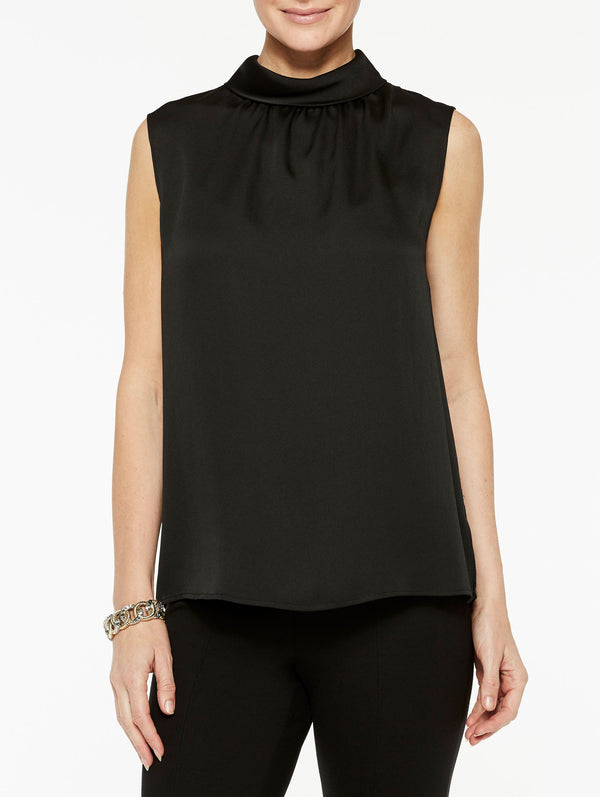Crepe de Chine Mock Neck Tank Color Black
