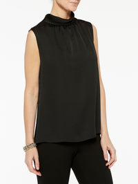 Plus Size Crepe de Chine Mock Neck Tank Color Black Premium Detail