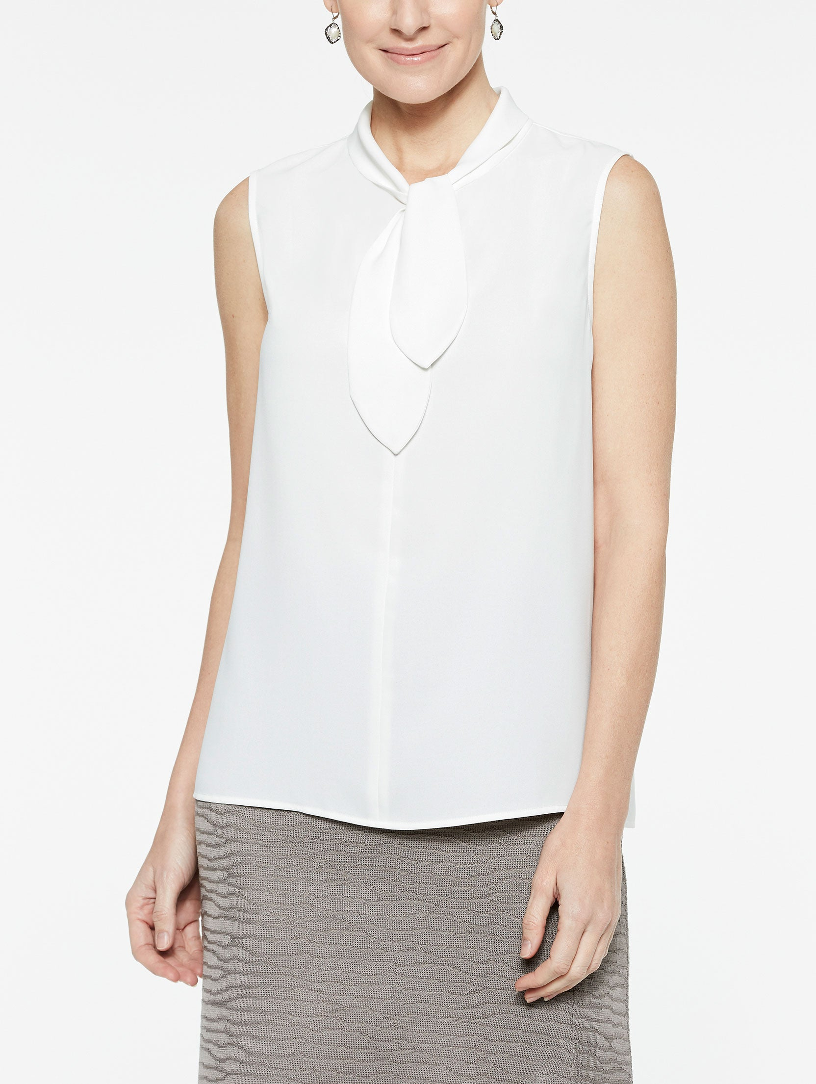 Loop and Tie Sleeveless Blouse Color White