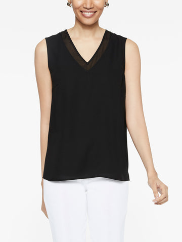 Sheer V-Neck Crepe de Chine Tank Top, Black