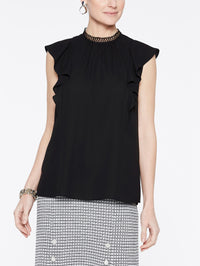 Crepe de Chine Ruffle Sleeve Blouse Color Black