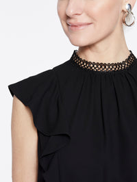 Crepe de Chine Ruffle Sleeve Blouse Color Black Premium Detail
