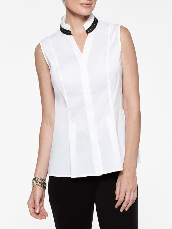 Plus Size Stretch Cotton with Stud Detail Sleeveless Blouse Color White