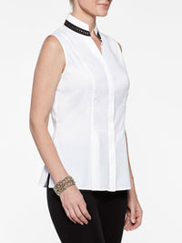 Petite Stretch Cotton with Stud Detail Sleeveless Blouse