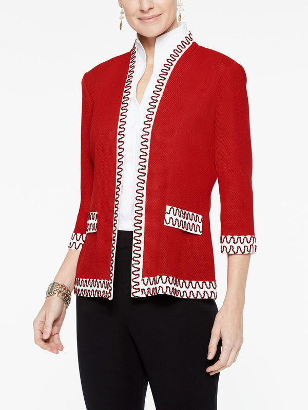 Embroidered Trim Jacket Color Tango Red/Black/Ivory