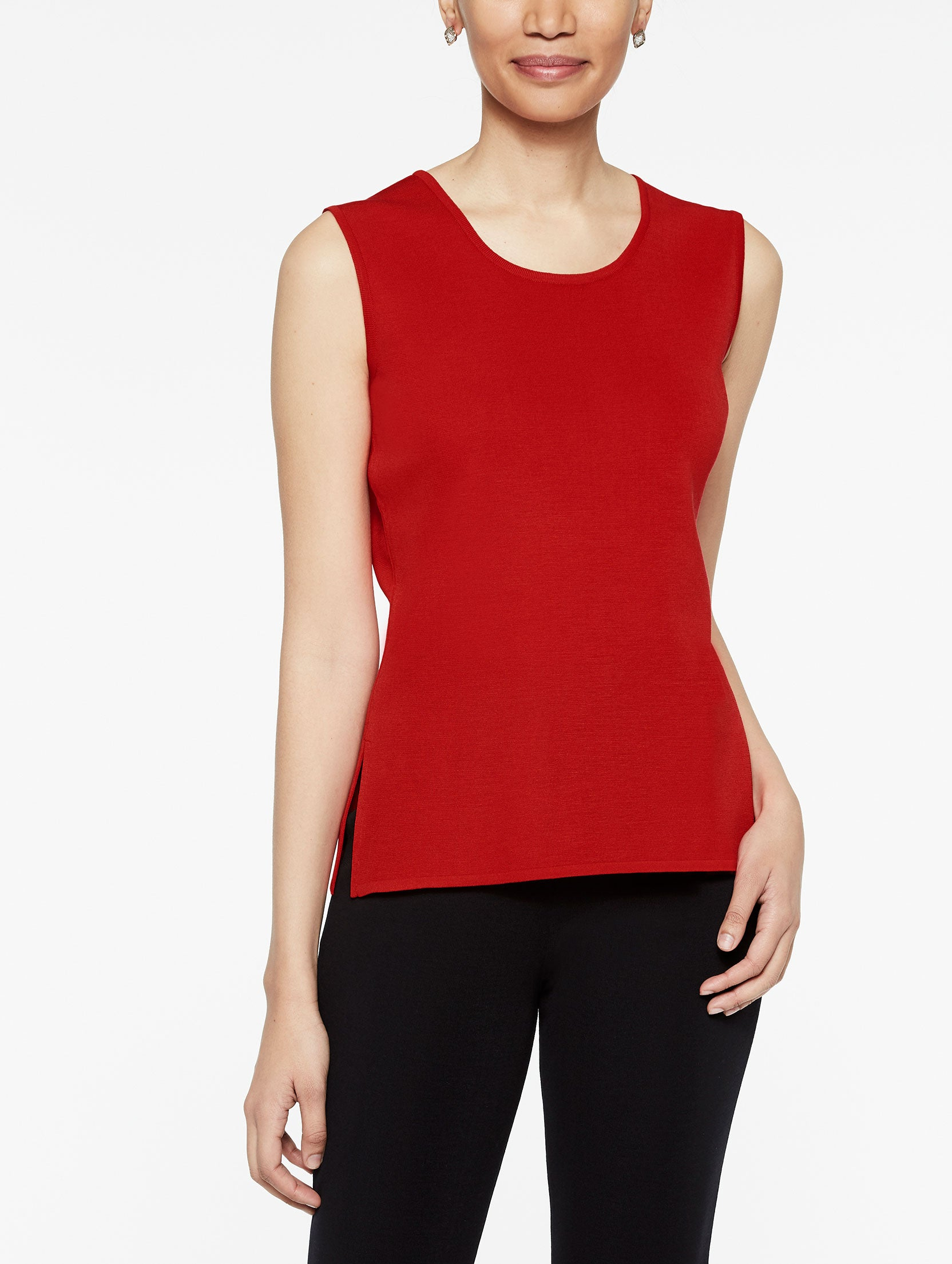 Tango Red Classic Knit Scoop Neck Tank Top, Plus Size Color Tango Red