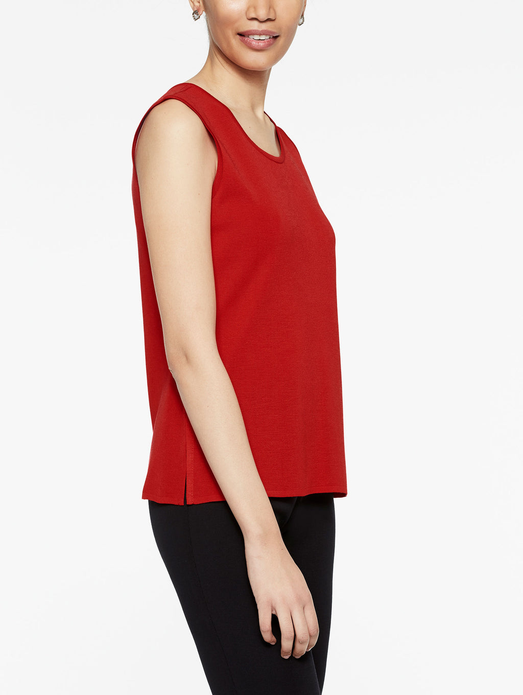 Tango Red Classic Knit Scoop Neck Tank Top Color Tango Red