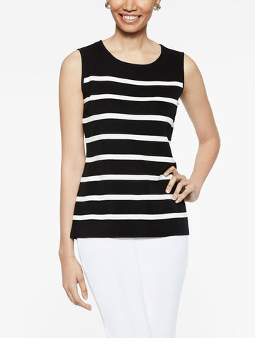 Striped Classic Knit Tank Top, Black/Ivory