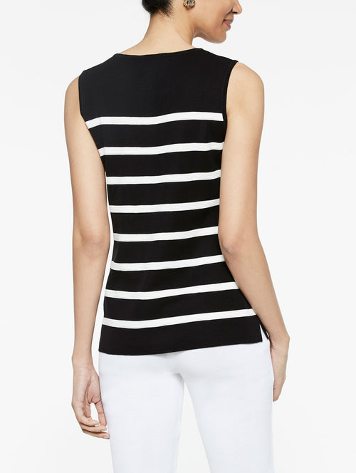 Stripe Classic Knit Jewel Neck Tank Top in Color Black/Ivory