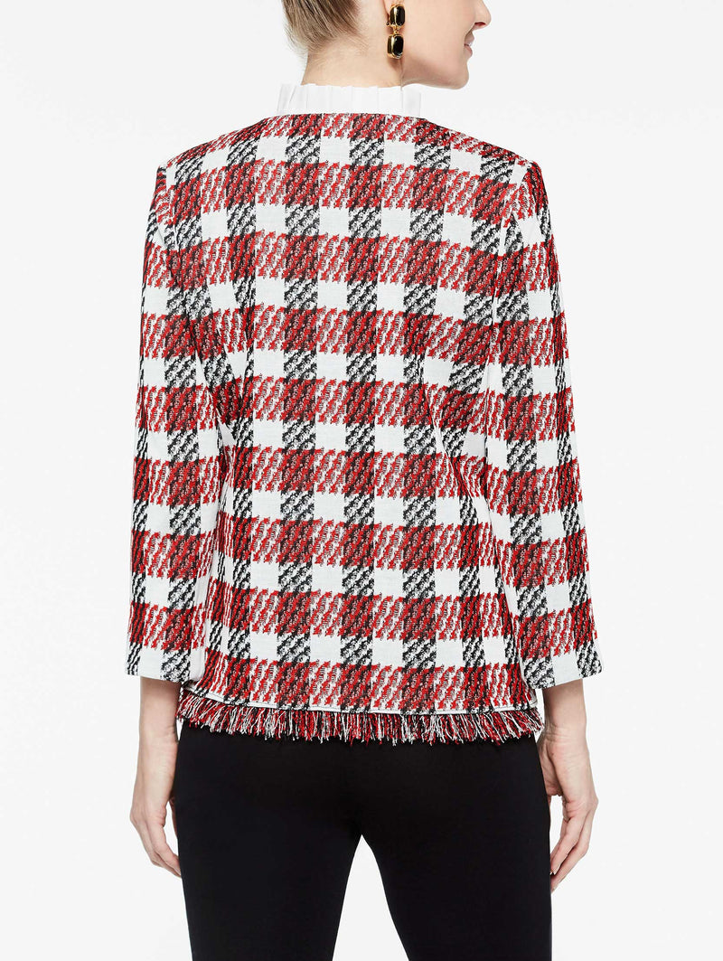 Fringe Trim Plaid Jacket Color Tango Red/Black/Ivory