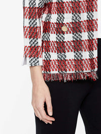 Fringe Trim Plaid Jacket Color Tango Red/Black/Ivory Premium Detail