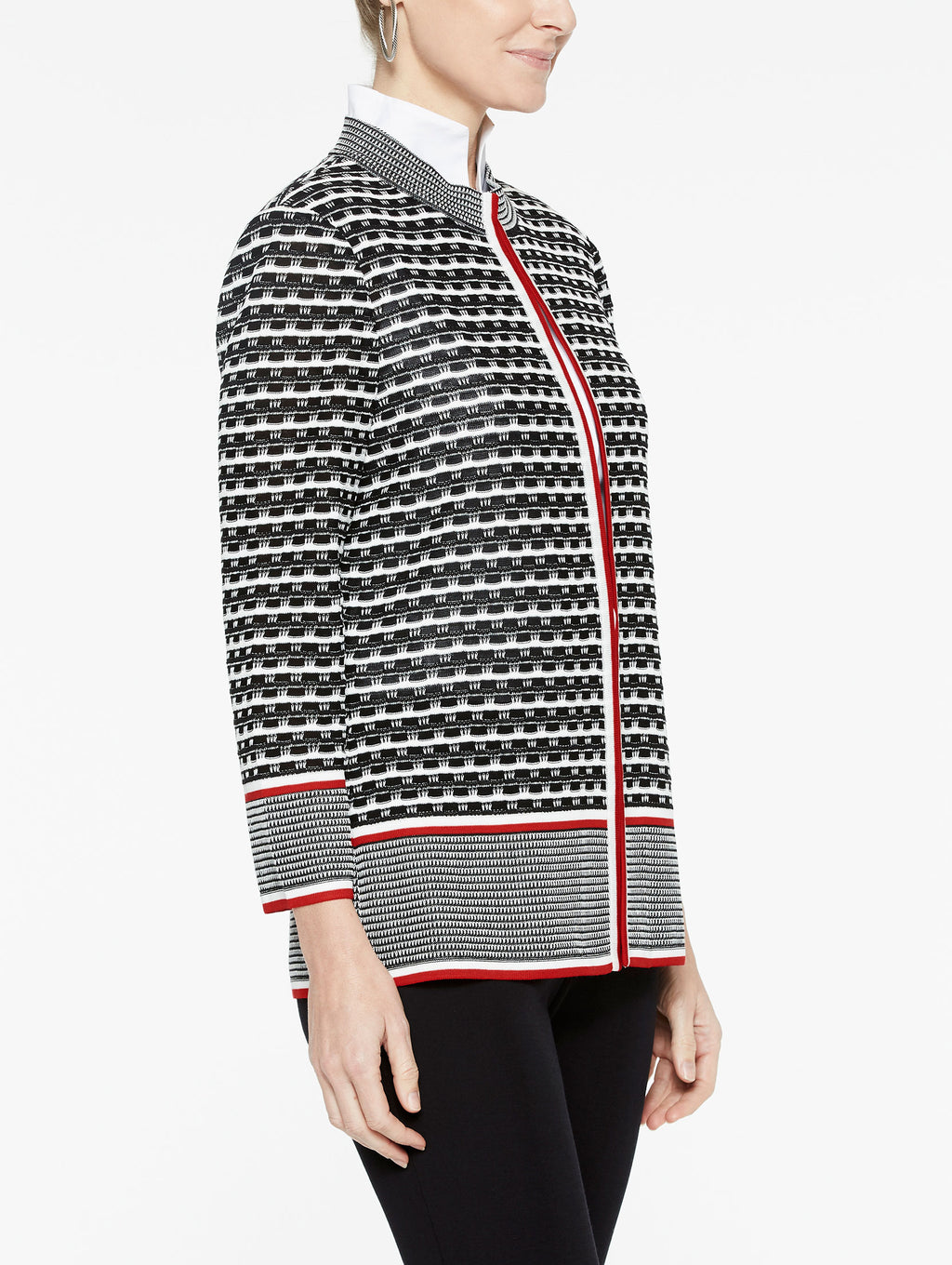 Digital Wavy Pattern Jacket Color Ivory/Black/Tango Red