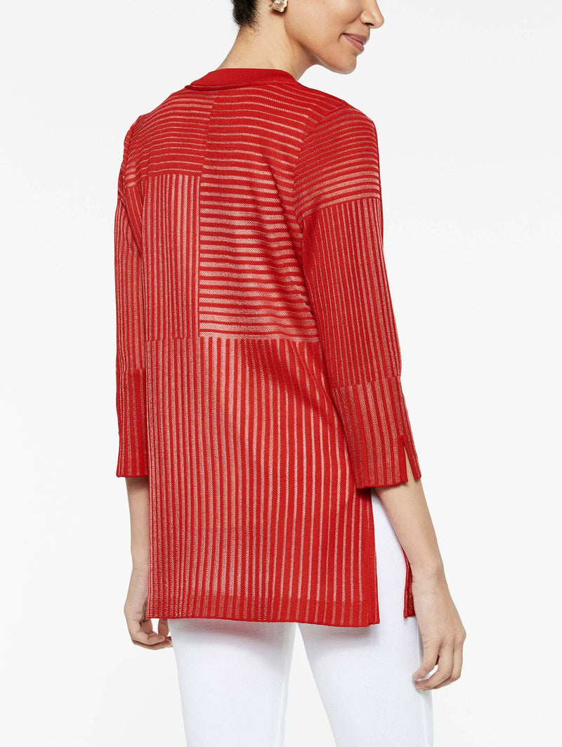 Sheer Pattern Easy Cardigan Color Tango Red