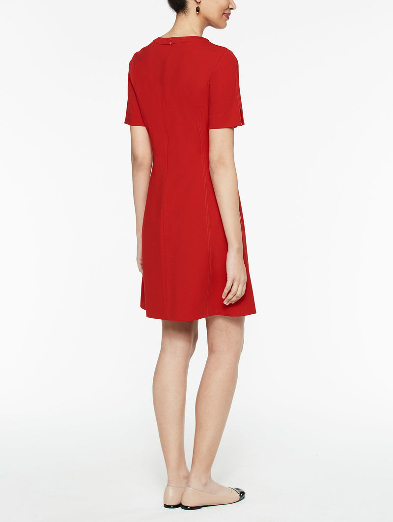 Ponte Seamed Woven Sheath Dress Color Tango Red