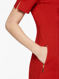 Ponte Seamed Woven Sheath Dress Color Tango Red Premium Detail