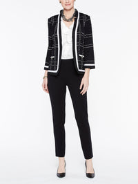 Ruffle Trim Plaid Jacket, Plus Size Color Black/Ivory