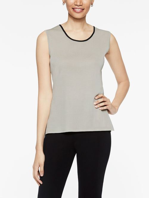 Almond Beige Classic Knit Scoop Neck Tank Top with Black Trim, Plus Size Color Almond Beige/Black